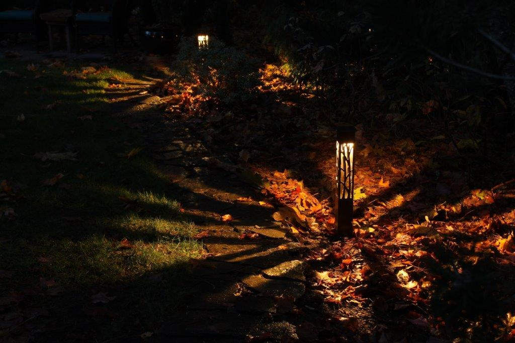 Pathway lighting with bollard landscape light