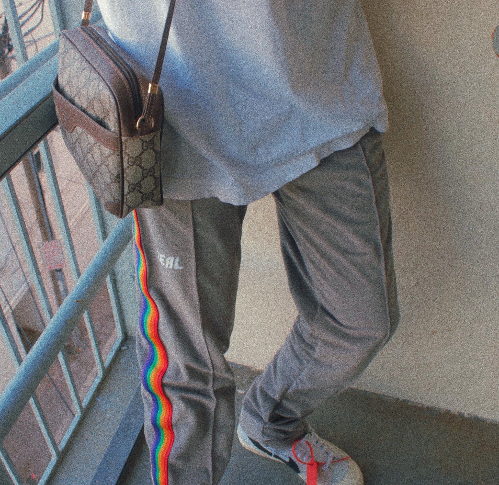 "GRAY VELOUR ""ORLANDO"" TRACK PANTS"
