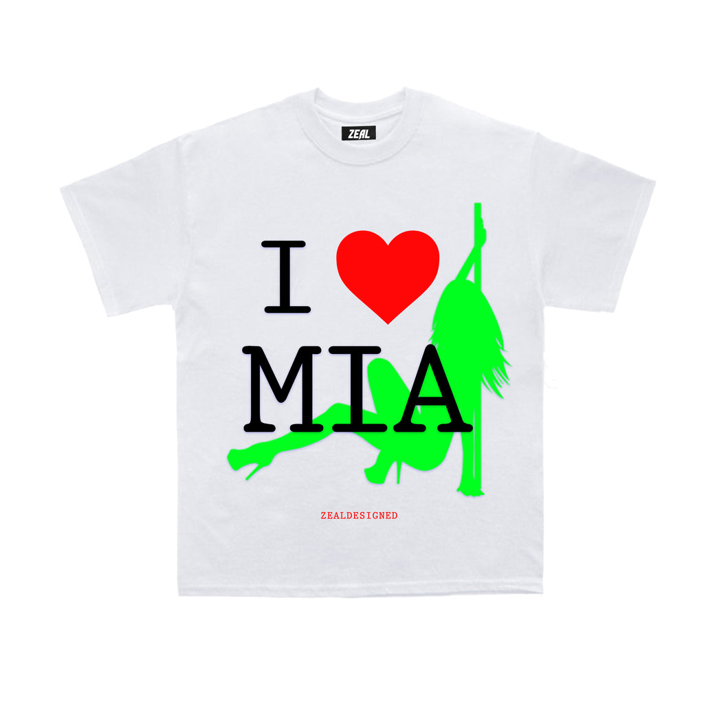 I LOVE MIA TOURIST WHITE SHORT SLEEVE T-SHIRT
