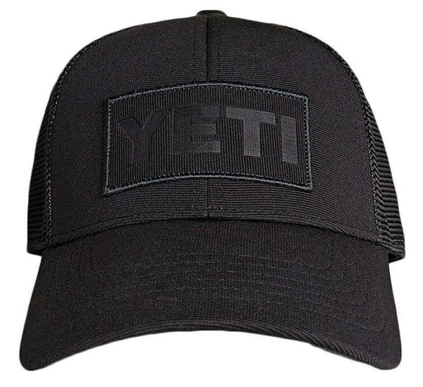 YETI BLACK ON BLACK TRUCKER HAT