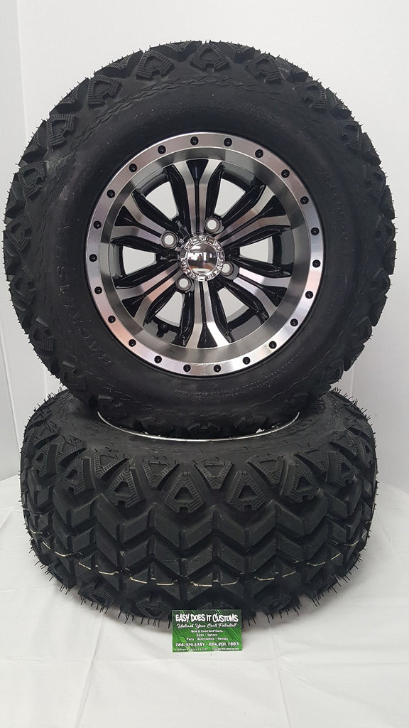 "12"" MACHINED OPTIMUS WHEEL with 23' ALL-TERRAIN Golf Cart Tires - SET OF 4"