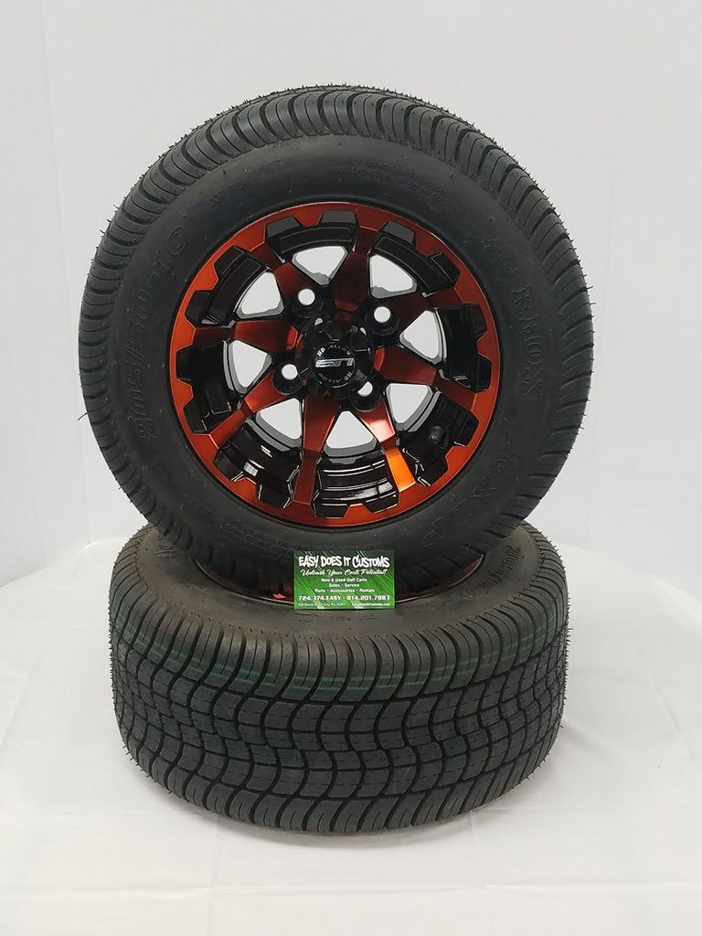 "10"" STI HD6 Orange and Black Wheels with Low Profile Golf Cart Tires - Set of 4"