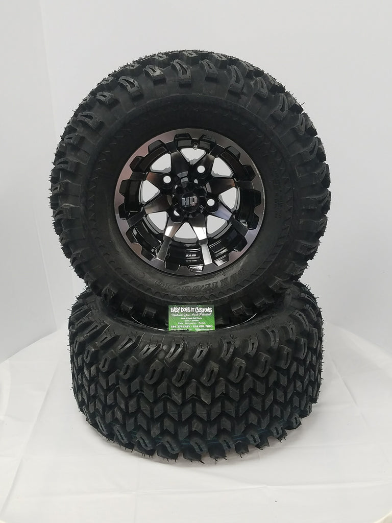 "10"" HD6 MACHINED with BLACK WHEEL and 22"" ALL-TERRAIN TIRES - SET OF 4 GOLF CART TIRES"
