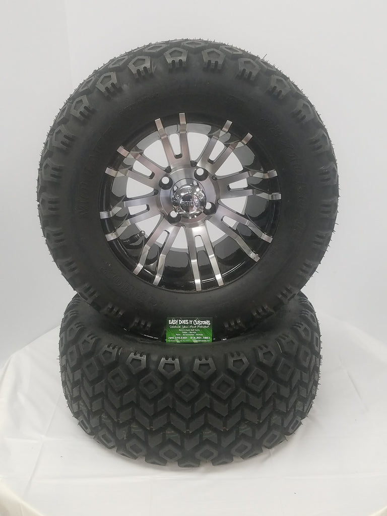 "12"" RHOX BLACK with MACHINED SPOKES and MOJAVE ALL-TERRAIN TIRES - SET OF 4"