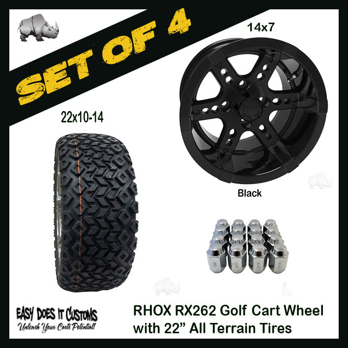 Rhox Tir Rx262 Black W Center Cap 14x7 Et 25 Easy Does It Customs Llc