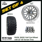 "14"" RHOX MULTI SPOKE MACHINED SILVER 22"" ALL-TERRAIN GOLF CART TIRES - SET OF 4"
