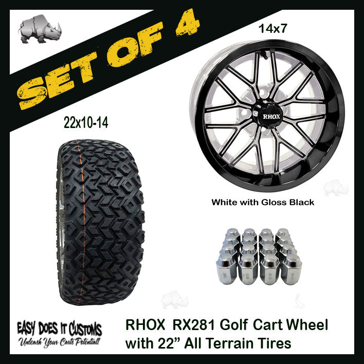 "14"" RHOX MULTI SPOKE WHITE WITH GLOSS BLACK 22"" ALL-TERRAIN GOLF CART TIRES - SET OF 4"