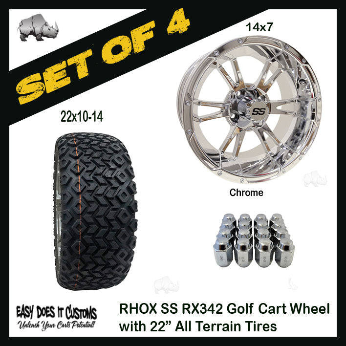 "14"" RHOX 6 SPOKE CHROME WITH 22"" ALL-TERRAIN GOLF CART TIRES - SET OF 4"