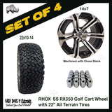 "14"" RHOX 6 SPOKE MACHINED W/ GLOSS BLACK WHEEL WITH 22"" ALL-TERRAIN GOLF CART TIRES - SET OF 4"