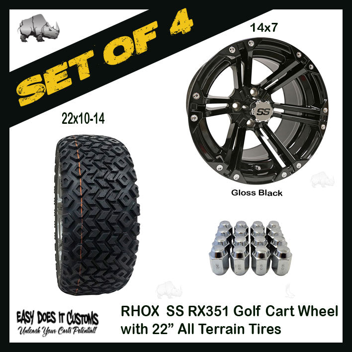"14"" RHOX 6 SPOKE GLOSS BLACK WHEEL WITH 22"" ALL-TERRAIN GOLF CART TIRES - SET OF 4"