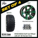 "14"" RHOX 6 SPOKE GLOSS BLACK WITH GREEN - 22"" ALL-TERRAIN GOLF CART TIRES - SET OF 4"
