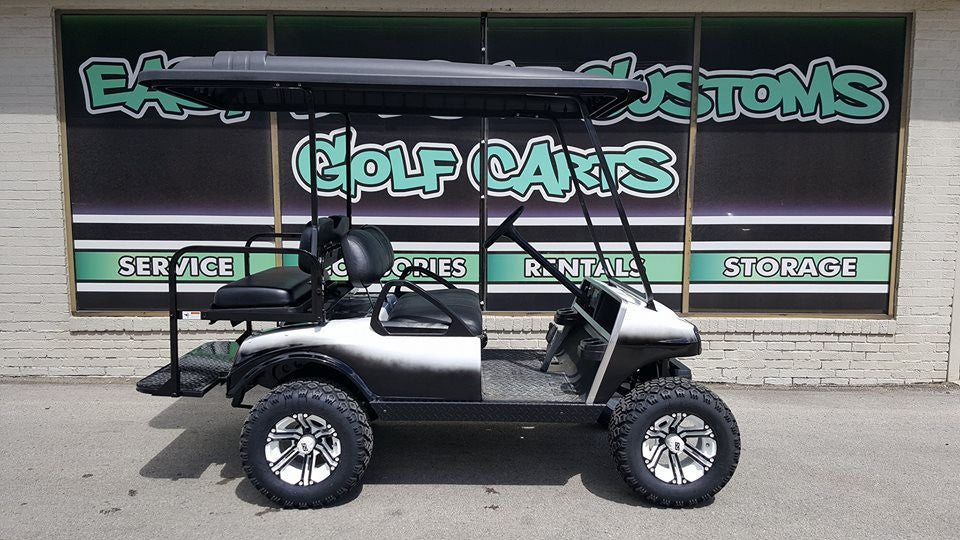 2013 Electric Club Car DS Golf Cart - Black N White Fade SOLD