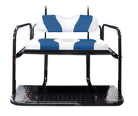DS TWO TONE REAR FLIP SEAT WHITE W/BLUE STRIPE