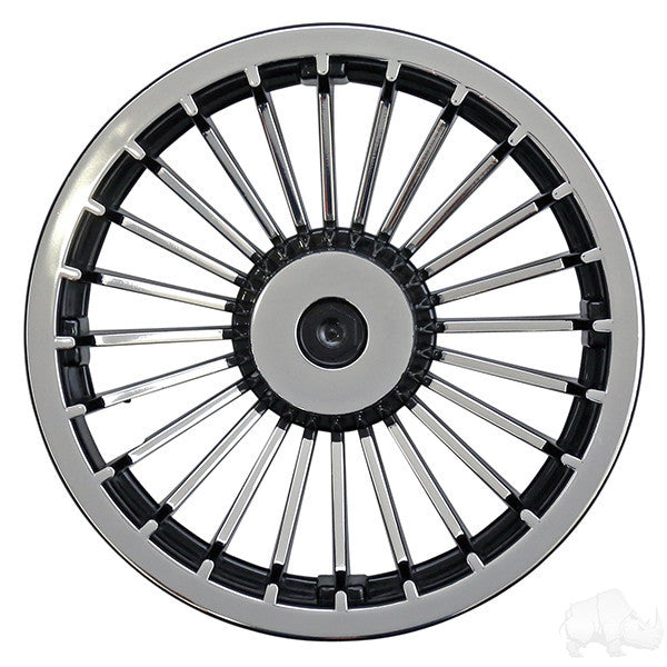 "8"" Turbine Black and Silver Wheel Cover"