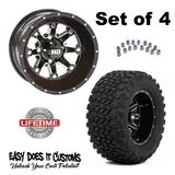 "STI Black HD4 12"" Wheel and Slasher AT Trail 23x10.5-12 All Terrain Tire Combo - Set of 4"