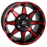 "STI Red and Black HD6 12"" Wheel and Slasher AT Trail 23x10.5-12 All Terrain Tire Combo - Set of 4"