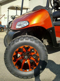 "STI Orange and Black HD6 12"" Wheel and Slasher AT Trail 23x10.5-12 All Terrain Tire Combo - Set of 4"