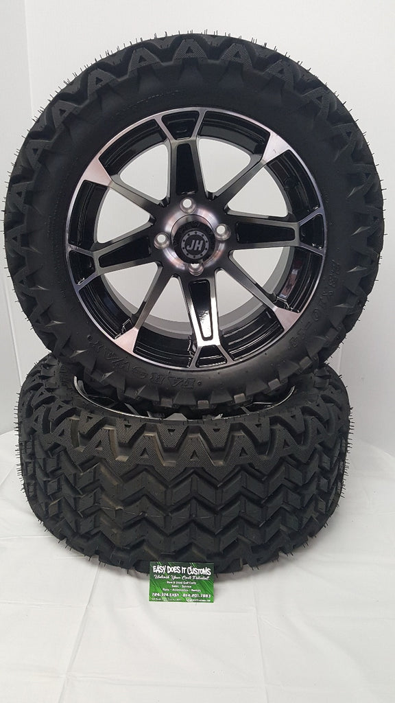 "14"" JH BLACK and MACHINED WHEELS with 23"" ALL-TERRAIN GOLF CART TIRES - Set of 4"