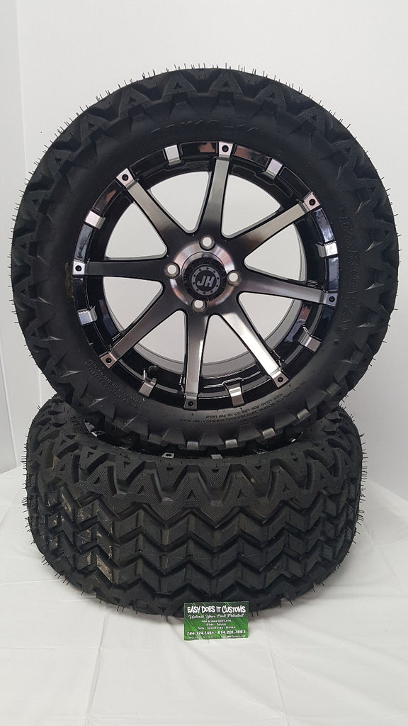 "14"" JH BLACK and MACHINED WHEELS with ALL-TERRAIN GOLF CART TIRES - Set of 4"