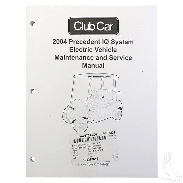 Club Car Precedent IQ 2004 Maintenance & Service Manual