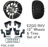 "EZGO RXV Golf Cart 6"" RHOX Lift Kit Combo Package 12"" Wheels with 23"" Tires"