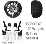 "EZGO TXT Golf Cart 6"" RHOX Lift Kit Combo Package 12"" Wheels with 23"" Tires"