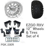 "RHOX 23"" Tire, 12"" Wheel and 6"" Lift Kit Combo Package for EZGO RXV Golf Cart"