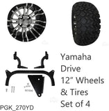 "RHOX 23"" Tire, 12"" Wheel and 6"" Lift Kit Combo Package for Yamaha Drive Golf Cart"