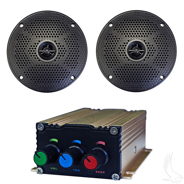 "Bluetooth Audio Package with Bluetooth Enabled AMP and 5"" Speaker Set"