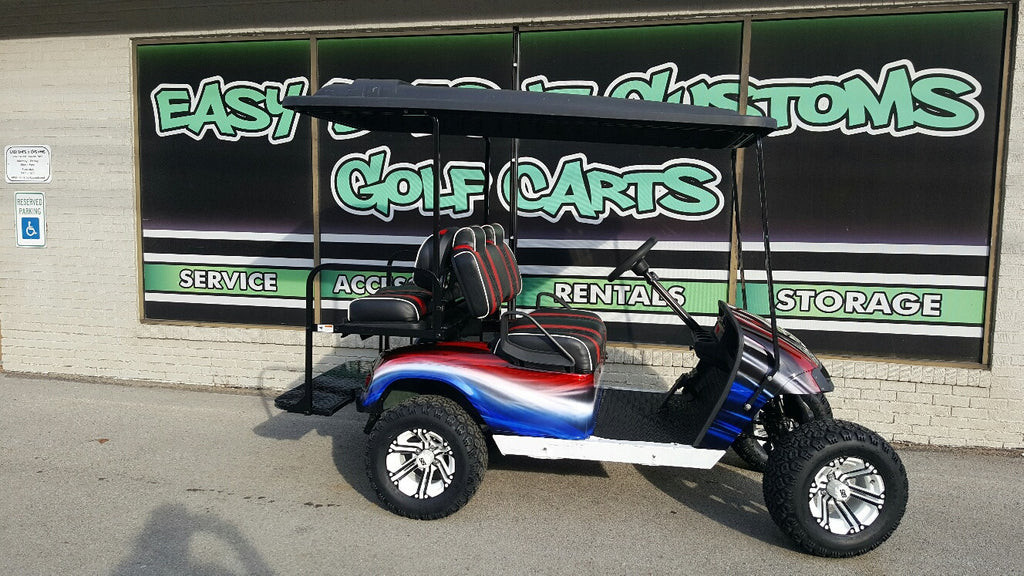 2012 Electric EZGO Red, White, and Blue Golf Cart - SOLD