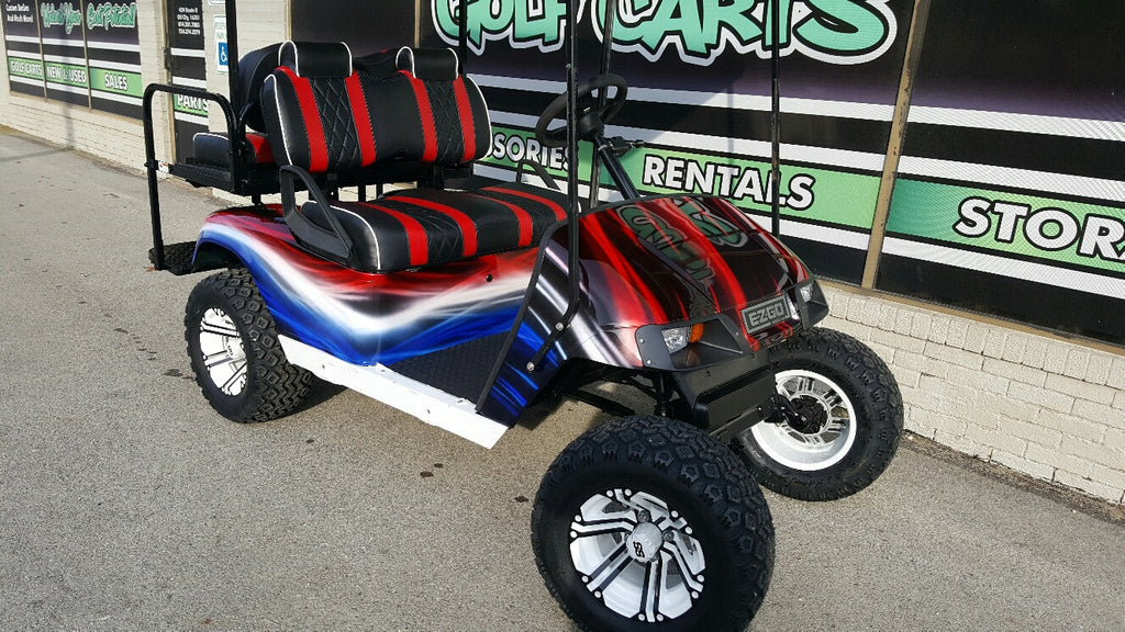 2012 Electric Ezgo Red White And Blue Golf Cart Sold