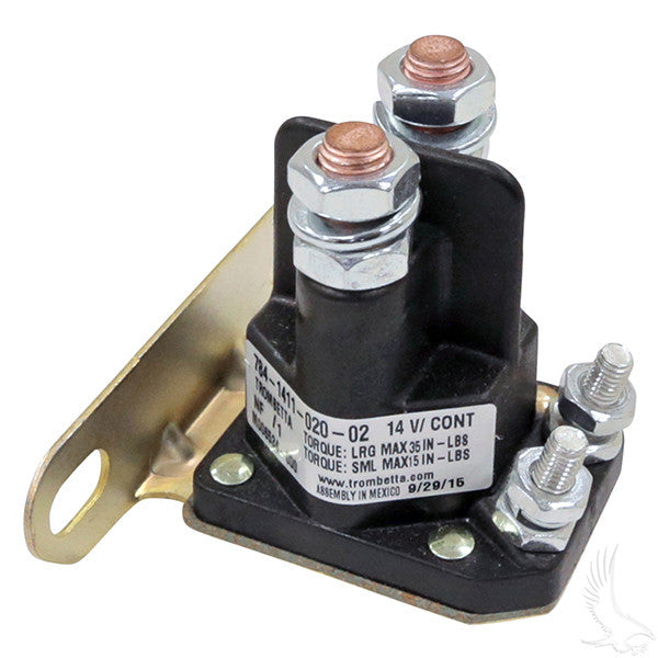 14V 4 Terminal Silver Solenoid for EZGO Medalist / TXT 4-cycle Gas 94+
