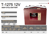 Trojan T-1275 12 Volt Golf Cart Battery