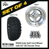 "10"" RHOX 4-Spoke Indy Machined Wheels WITH 22"" ALL-TERRAIN TIRES - SET OF 4 Golf Cart Tires"