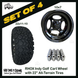 "10"" RHOX 4-Spoke Indy Black Wheels WITH 22"" ALL-TERRAIN TIRES - SET OF 4 Golf Cart Tires"
