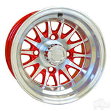 "RHOX Phoenix Machined with Red 10"" Aluminum Golf Cart Wheels"