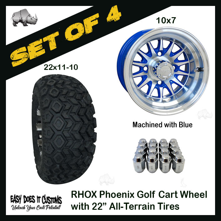 10 Phoenix Machined With Blue Wheels With 22 All Terrain Tires Set Easy Does It Customs Llc