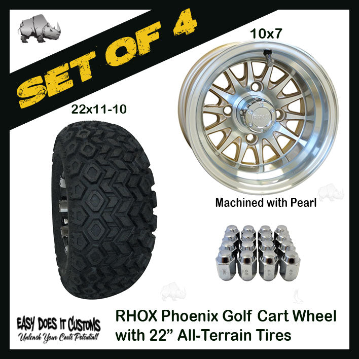 "10"" Phoenix Machined with Pearl Wheels WITH 22"" ALL-TERRAIN TIRES - SET OF 4 Golf Cart Tires"