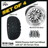 "10"" Phoenix Machined with Black Wheels WITH 22"" ALL-TERRAIN TIRES - SET OF 4 Golf Cart Tires"