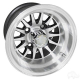 "RHOX Phoenix Machined with Black 10"" Aluminum Golf Cart Wheels"