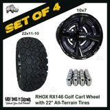 "10"" RHOX 4-SPOKE GLOSS BLACK Wheel WITH 22"" ALL-TERRAIN TIRES - SET OF 4 Golf Cart Tires"