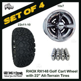 "10"" RHOX 4-Spoke Black with Chome Wheels WITH 22"" ALL-TERRAIN TIRES - SET OF 4 Golf Cart Wheels"