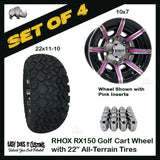 "10"" RHOX 8 Spoke Machined w/Gloss Black Wheels WITH 22"" ALL-TERRAIN TIRES - SET OF 4 Golf Cart Wheels and Color Options"