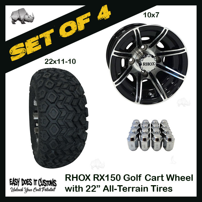 10 Rhox 8 Spoke Machined W Gloss Black Wheels With 22 All Terrain