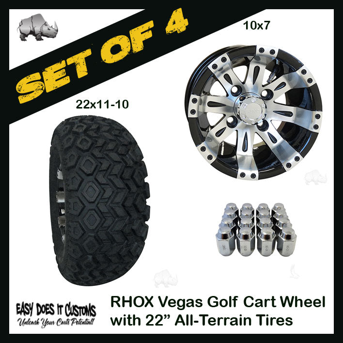 "10"" RHOX Vegas Wheels WITH 22"" ALL-TERRAIN GOLF CART TIRES - BLACK AND MACHINED - SET OF 4 WHEELS AND 4 TIRES."