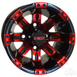 RHOX Vegas, Black w/ Red w/ Center Cap, 10x7 ET-25