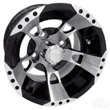 "RHOX RX190 Machined with Black 10"" Aluminum Golf Cart Wheels"
