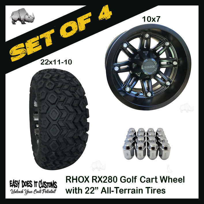 "10"" RHOX 8 Spoke Matte Black Wheels WITH 22"" ALL-TERRAIN TIRES - SET OF 4 Golf Cart Wheels"