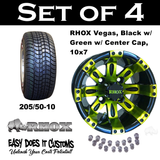 "10"" Vegas Golf Cart Black and Green Wheels with Golf Cart 205/50-10 Tires"