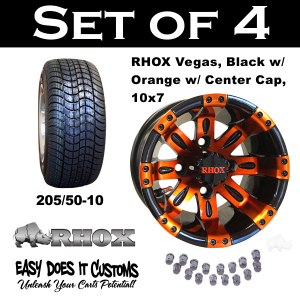 "10"" Vegas Black with Orange Wheels and 205/50-10 Low Profile Tires - Set of 4"